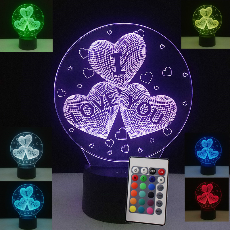 Kids Toys Glow in the dark 3D LED Lamp I LOVE YOU Sweet Love