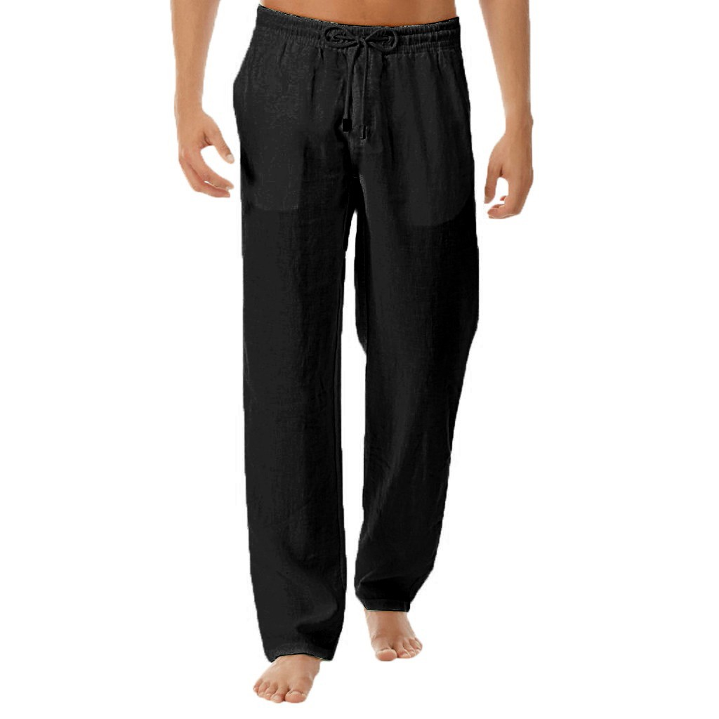 Feitong Pants Men s Summer New Style Simple solid Fitness Soft Breath Cotton Linen Trousers Innrech Market.com
