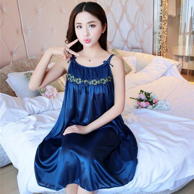 Fashion Silk Brand Spring Summer Silk Nightgown Women Sexy Spaghetti Strap  Lace Lingerie Dress Sleepwear Sleepshirts Size L-3XL 366a87aff1