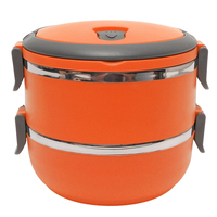 Hot 2 Layer Stainless Steel Portable Insulated Thermal Lunch Box Bento Food Container Storage With Handle