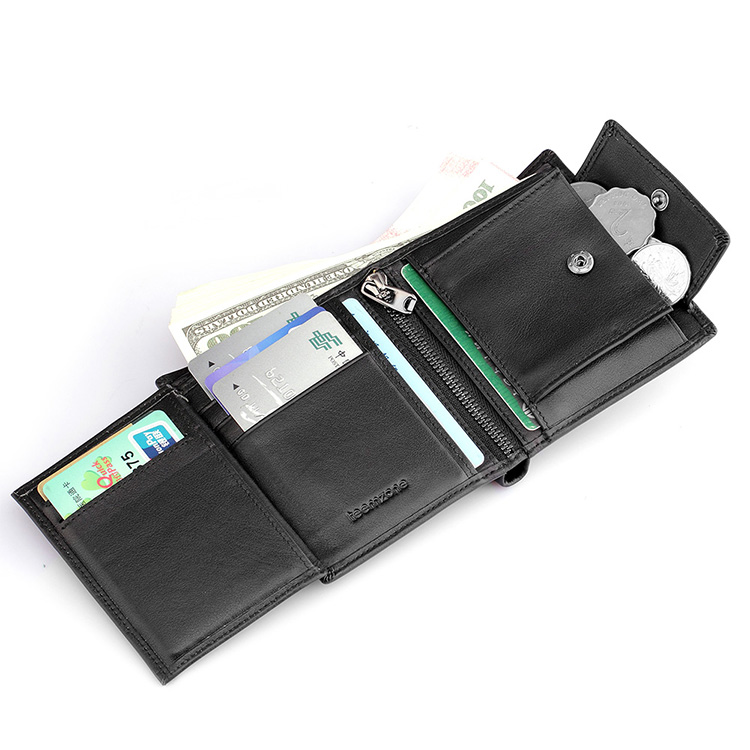 ФОТО Men's Leather Casual Credit Card Case ID Cash ID window Holder Wallet  Organizer Wallet Trifold Wallet Black Coin Wallet Q415