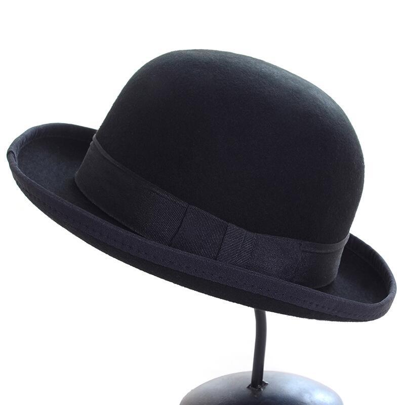 Pure Wool Men women <font><b>Fedora</b></font> Hat Navy Black Grey Floppy Brim Woolen Felt Bowler Hat Casual Dome Winter Derby Hat Caps