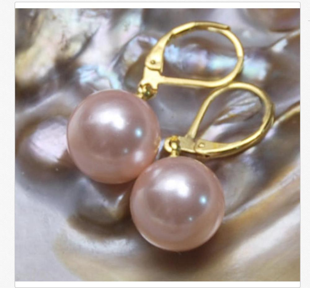 цена charming pair of round 10-11mm south sea lavender pearl earring 14k