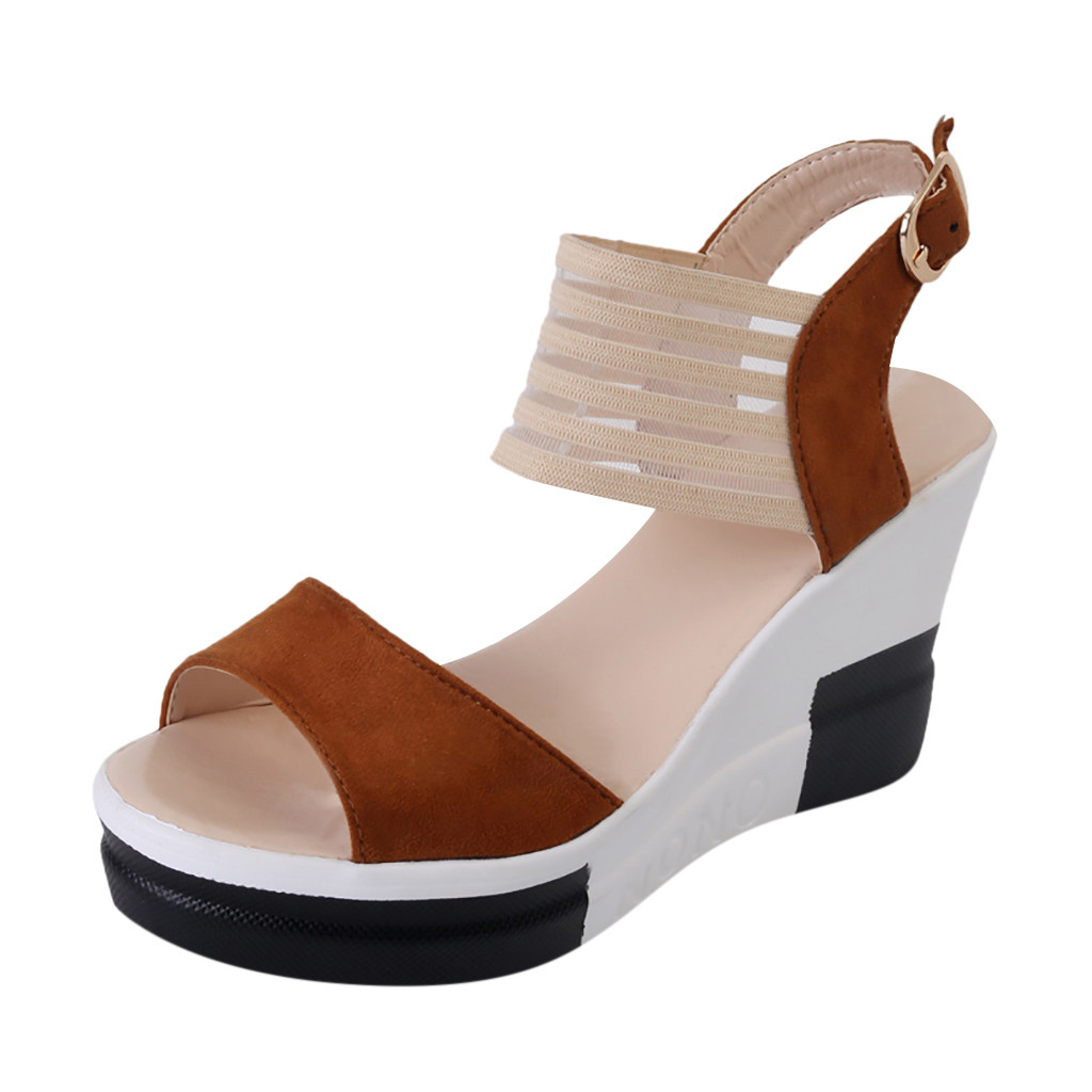 JAYCOSIN Sandals Wedge High-Heel-Shoes Fish-Mouth Casual Fashion Belt-Buckle