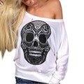 Camisa da forma T Mulheres Impressão Crânio Fora de Um Ombro Longo-sleeved T-shirt Das Mulheres Encabeça Camiseta Femme Ropa Mujer