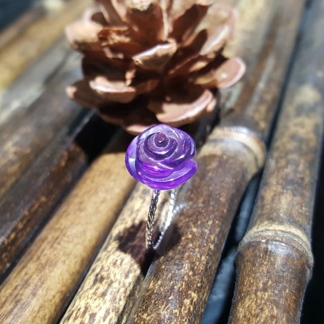 LiiJi Unique 925 Sterling Silver Amethyst Rose,Blue Aquamarine Crystal,Opal Crystal Flower Pearl Ring for Women Girls Gift