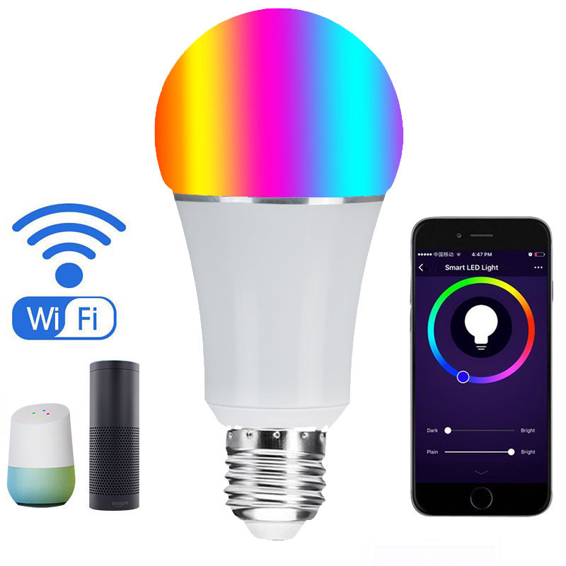 Smart home WiFi led bulb light APP connect Alexa Google home voice control E27 B22 RGB+CW dimmable led bulb free shipping frankever smart products wifi voice control discolourable bulb for bedroom club compatible with alexa google home
