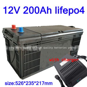 GTK Lifepo4 12V 200AH lithium battery BMS 4S 12.8V 200Ah deep cycle for 1800W inverter EV RV Solar energy storage +20A Charger(China)