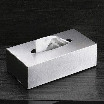 Caja de papel para servilletas Rectangular de acero inoxidable para organización de almacenamiento de cocina