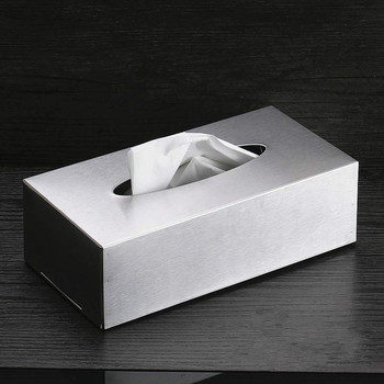 Cocina organización de almacenamiento Rectangular de acero inoxidable tipo de asiento servilleta caja de papel higiénico colgando pared cajas de pañuelos