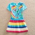 Retail Girls Vestido de Verano 2017 Nueva Mis Hijos Vestido Poco pony de dibujos animados princesa de las muchachas niños vestido de los bebés del vestido de 3 colores