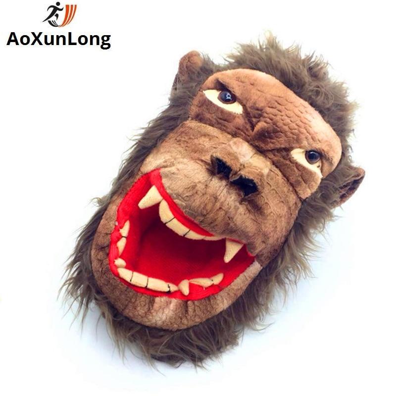AoXunLong Ny Vinter Varm Menn Tøfler Lovely Monkey Plysj Hjem - Herresko