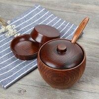 Japan Style Wood Seasoning Salt Cans Pot Dish Suits The Kitchen Seasoning Box Salt and Pepper Shakers Salt Pigs Wooden Sause Pot