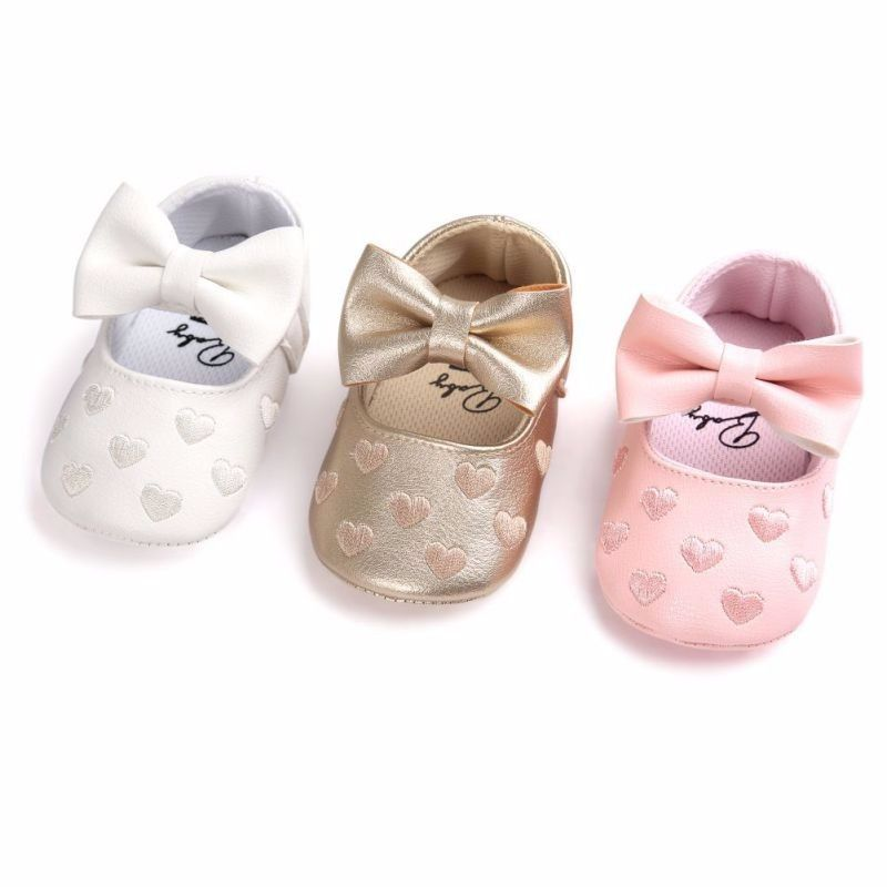 Toddler Girl Shoes Girl Infant Baby Princess Bowknot Soft Sole Girls Newborn Heart Print Bow Cute Gold Pink White 0-18M
