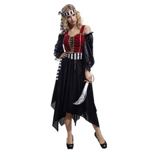 Adult Women Pretty Gothic Caribbean Pirate Pirates Costume Halloween Purim Carnival New Year Masquerade Costumes Fancy Dress