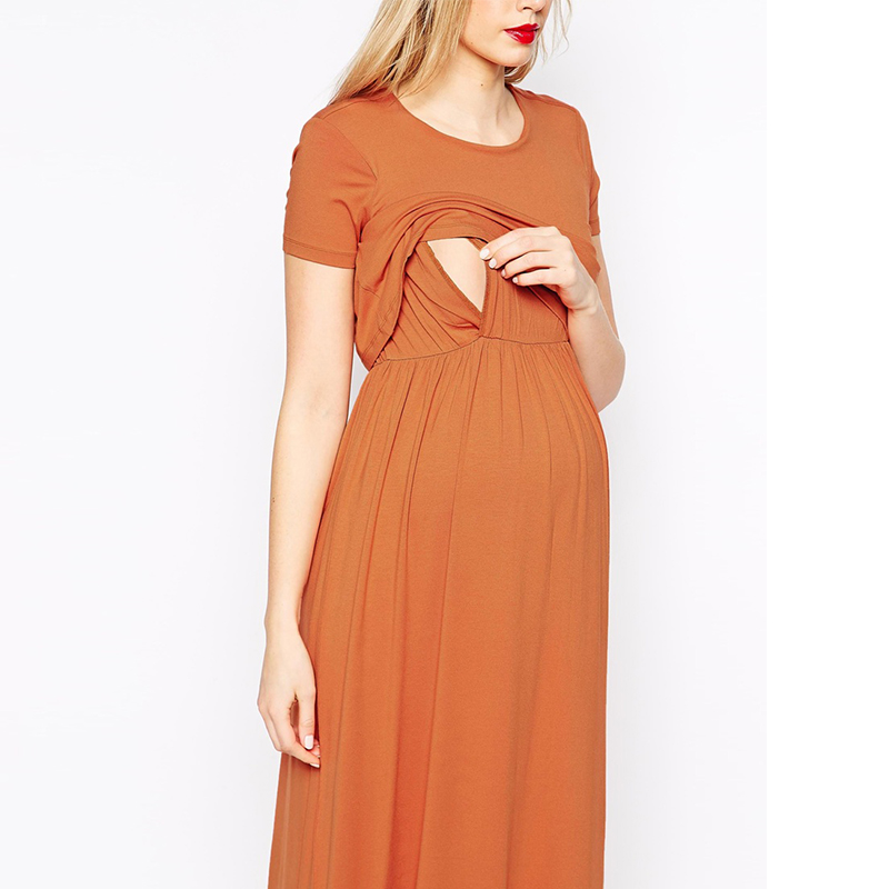 Modal Maternity Dress Temperament Long Dress Short Sleeve Maternity Month Breastfeeding Dress plaid long sleeve belted midi dress