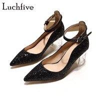Прозрачные женские туфли лодочки на не сужающемся книзу массивном каблуке, пикантные свадебные туфли с острым носком и блестками, весенние