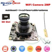 1080 P WiFi Kamera kablosuz ip kamera Wifi HD 2.0MP 720 P Onvif Güvenlik Kamera Modülü Anten ile SD Kart Yuvası Ses bağlantı noktası