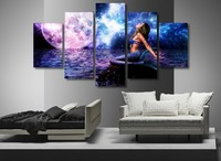 5 Piecesset The Rusalka Blue Mermaid Modern Home Wall Decorations For Home Art HD Print Painting