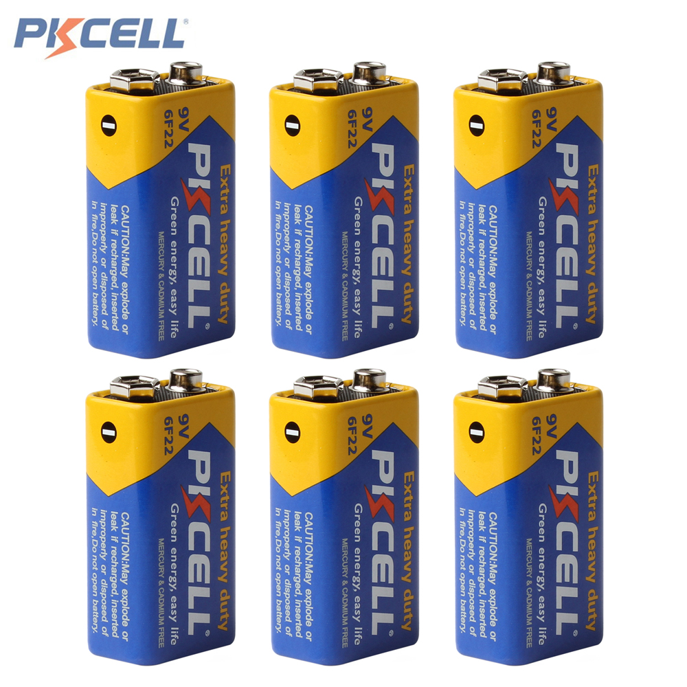 6pcs! Pkcell Super Heavy Duty 9V 6F22 Battery Dry Zinc Carbon Battery for Remote Control Toys Smoke Alarm Digital Camera 4pcs set battery parts pkcell 9v batteries 6f22 single sex dry 9 v battery zinc carbon battery