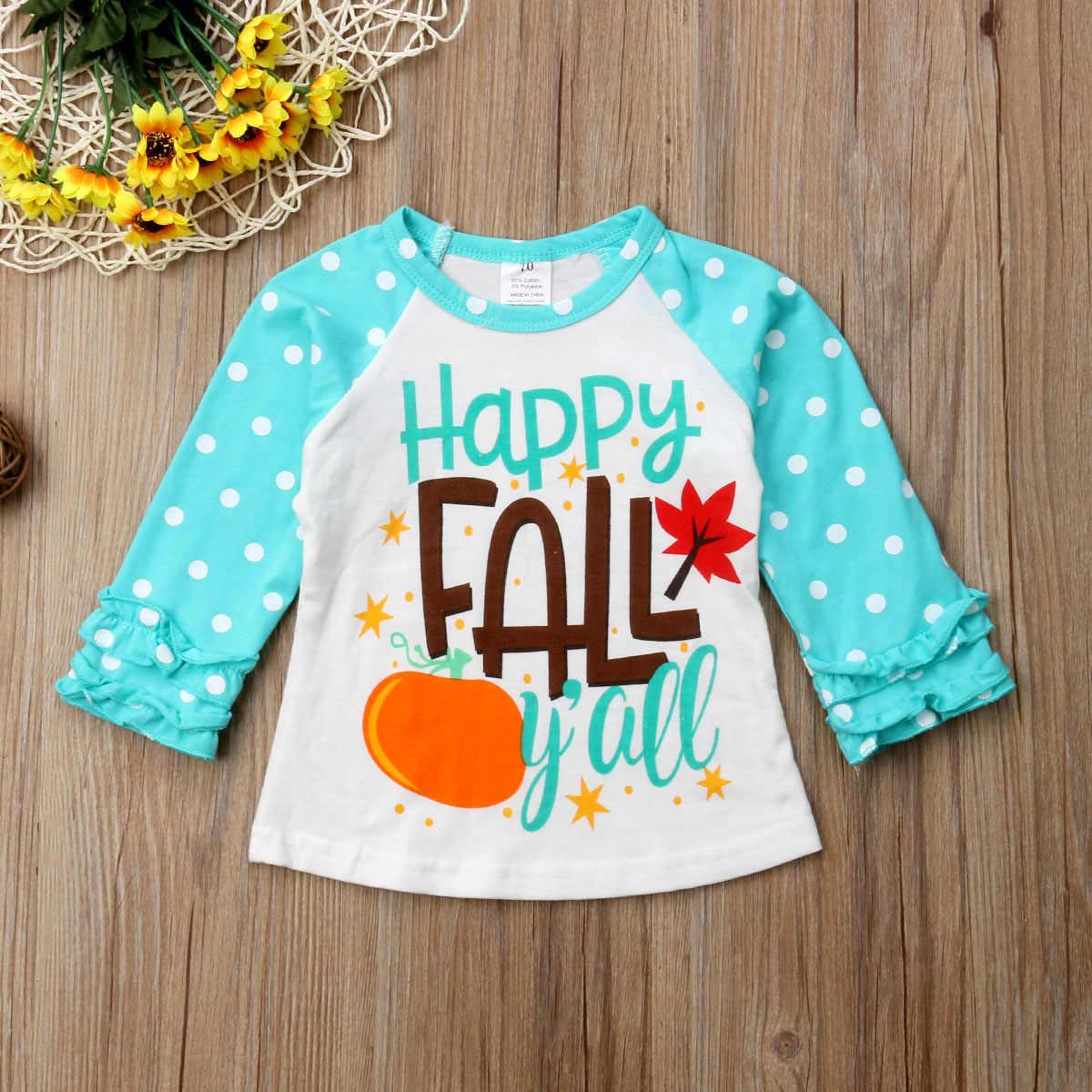2018 Kız Üst Mutlu Sonbahar Çocuklar Bebek Kız Erkek pamuklu uzun kollutişört Baskı Ruffles Prenses Bluzlar Tops 0-7 T