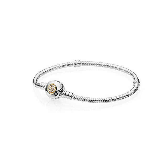Authentic 925 Sterling Silver Moments Bracelets with Snake Chain Compatible with fashion Charms Bracelet DIY Fashion Jewelry