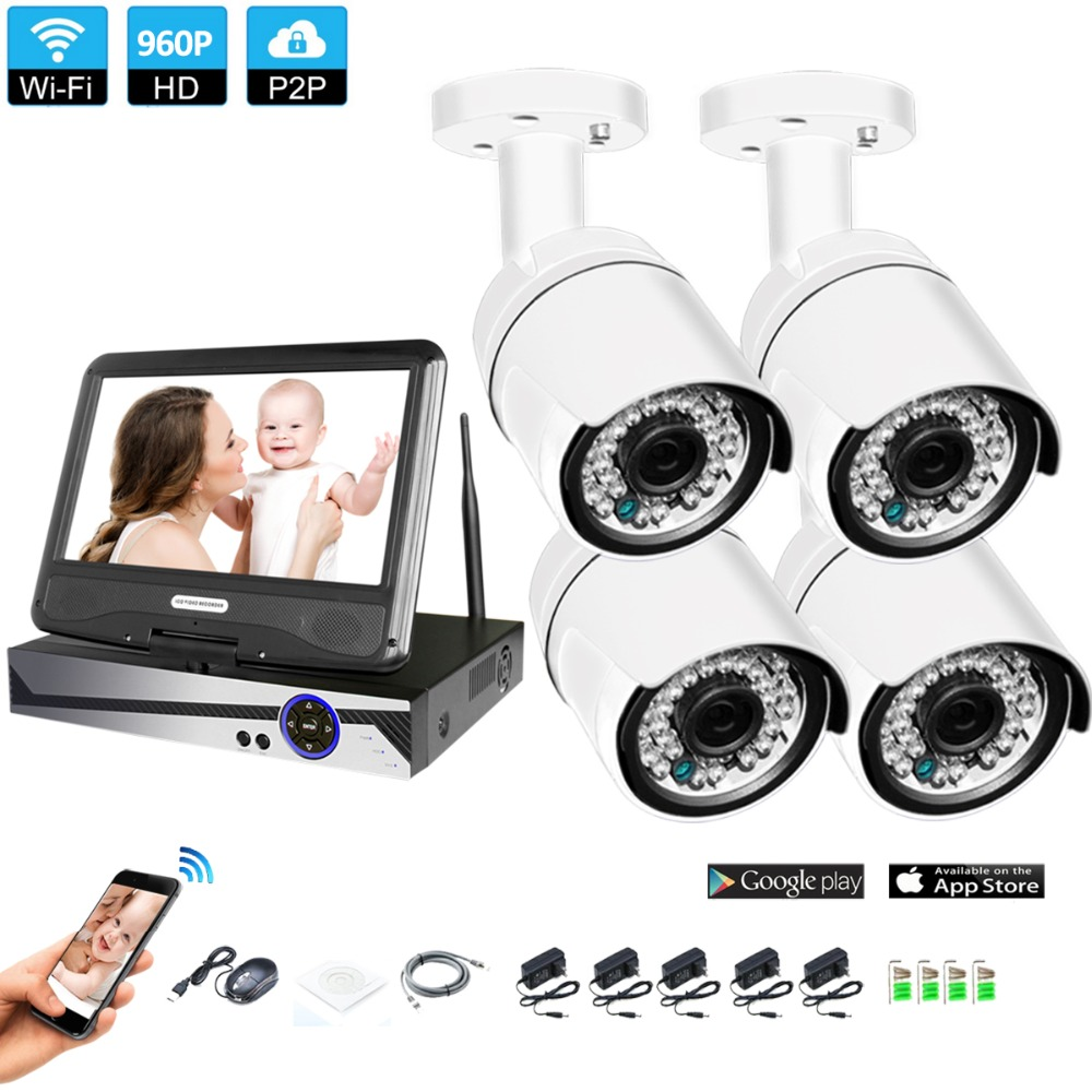 Wireless Surveillance System Network 10.1 LCD Monitor NVR Recorder Wifi Kit 4CH 960P HD Video Inputs Security CameraWireless Surveillance System Network 10.1 LCD Monitor NVR Recorder Wifi Kit 4CH 960P HD Video Inputs Security Camera