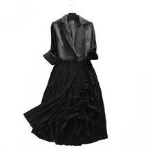 Trench Coat Women Fashion Stripe Turn-down Three Quarter Sle