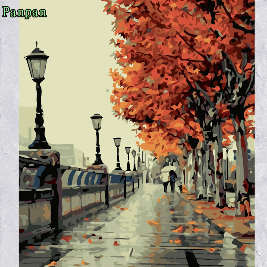 Europe Fall Streetscape Frameless Wall Canvas Art Diy Digital Oil Painting Paint Number