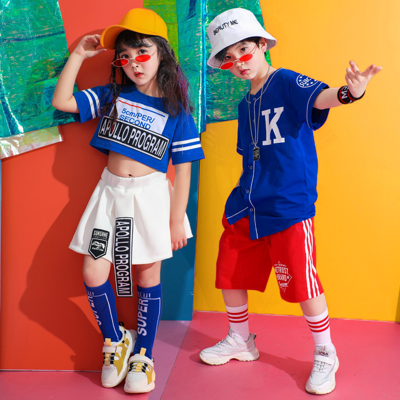 Popular Jazz Dance Costume Kids Hiphop Dancing Clothes Street Dance Rave Outfit Child Team Cheerleader Clothes 2 Pcs Suit DC2163