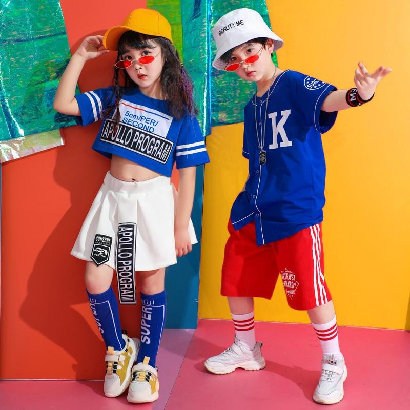 Popular Jazz Dance Costume Kids Hiphop Dancing Clothes Street Dance Rave Outfit Child Team Cheerleader Clothes 2 Pcs Suit DC2163