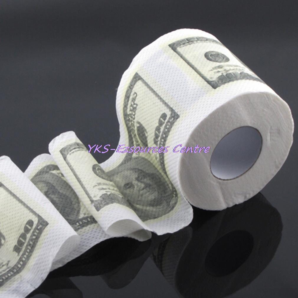 1pc One Hundred Dollar Bill Toilet Paper Novelty Fun $100 TP Money Roll Gag Gift Hot Selling