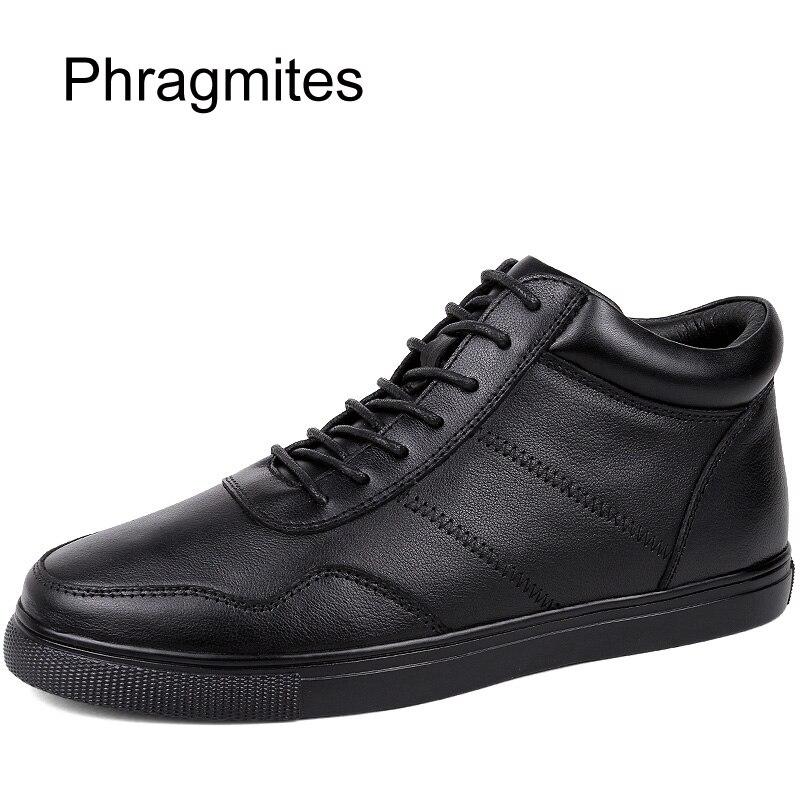 Phragmites Winter Fur Warm Men Boots Leather Boots Men Boots European Inner Heels Unisex Sneakers Plus Size 47 Zapatos De Hombre