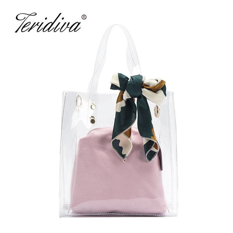 2018 Fashion Famous Designer Large Capacity Tote Bag Transparent Handbag Summer Shopping Bag Candy Colors Shoulder Bags Travel