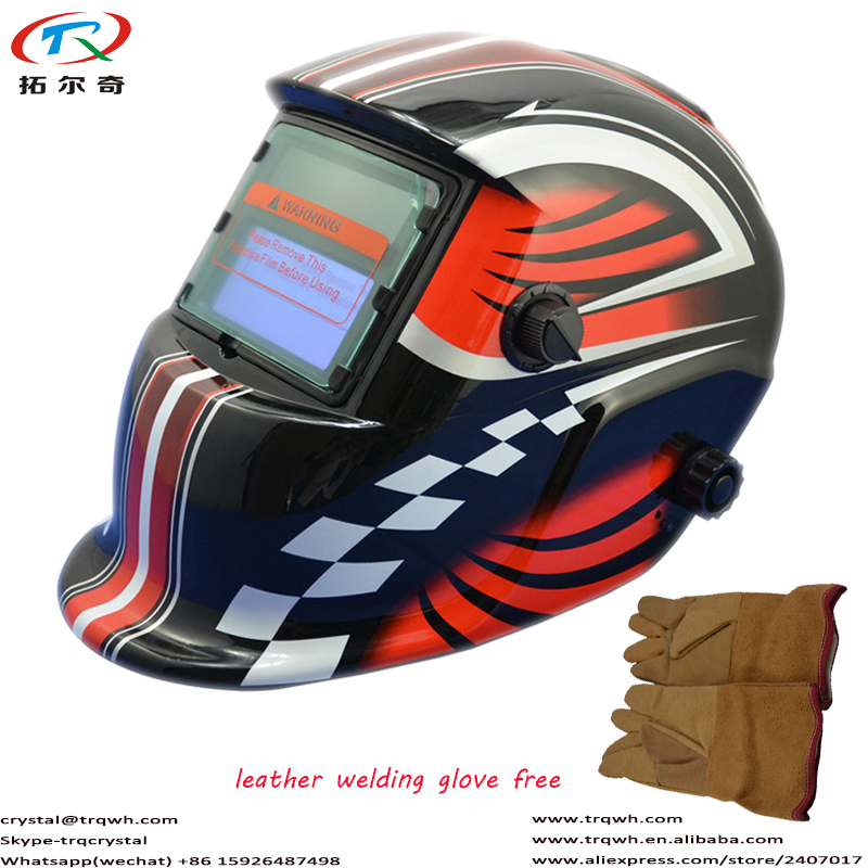 Auto Darkening Welding Helmet/Welding Mask/Welding Cap/Weld Cap Tig Mig Arc/CO2 Equipment TRQ-HD02-2200DE-G Red Motocycle Decal