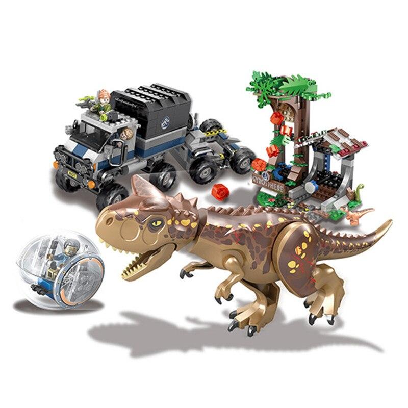 648PCS Jurassicc World Park Legoings Carnivorous Escape Dinosaur T-rex Dilophosaurus Building Blocks Bricks Baby Toys Children