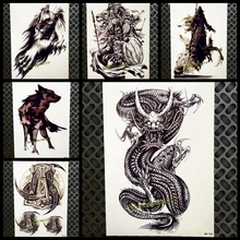 Large Black Dragon Desgion Fake Arm Tattoo For Men Women Body Chest Art Tatoo 21x15cm Waterproof Temporary Tattoo Stickers