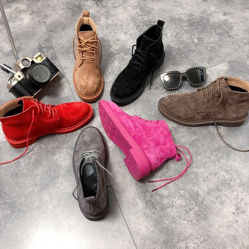 2019 nouveau britannique vent rétro fond plat moto bottes en cuir dentelle désert bottes femmes bottes Martin bottes