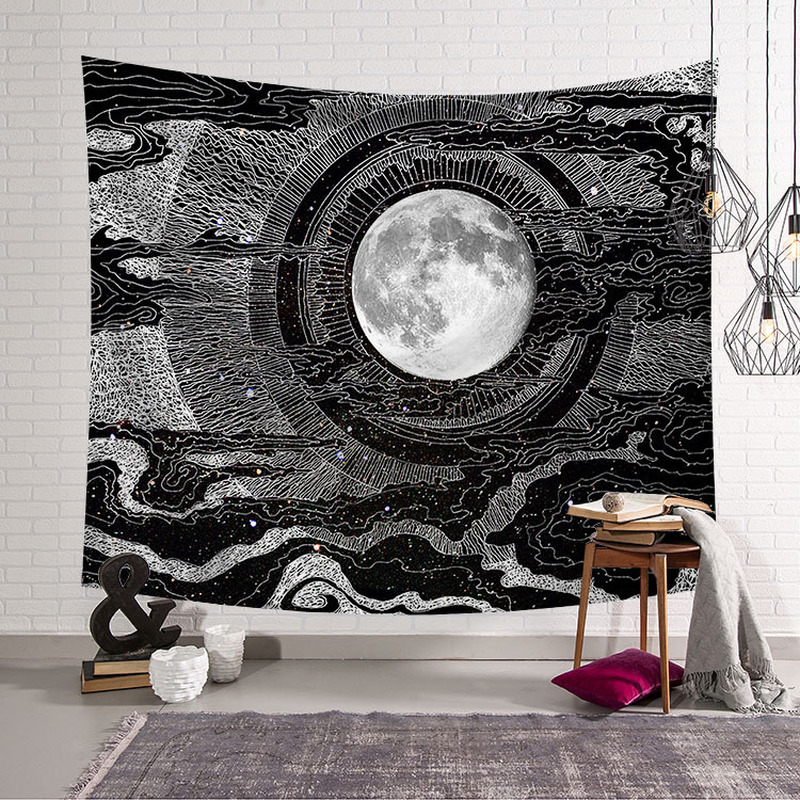 Sun Moon Tapestry Wall Hanging Hippie Witchcraft Tapiz Psychedelic Farmhouse Decor Tenture Tapisserie Beach Bohemian Custom image