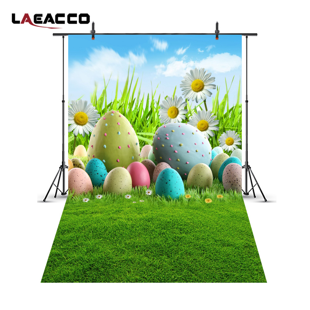 Laeacco Easter Eggs Flowers Grassland Baby Newborn Photography Backgrounds Customized Photographic Backdrops For Photo Studio 200cm 150cm easter photography backdrops hay wood walls eggs studio photo easter day zj