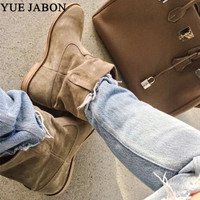 New Genuine Leather Suede Women Ankle Boots Slip On Cowboy Women Boots Shoes Women Motorcycle Shoes Flat /Height increasing heel