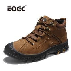 Botas masculinas tamanho grande à prova dwaterproof água sapatos de inverno de pelúcia super quente botas de neve de couro natural ao ar livre sapatos de tornozelo masculino