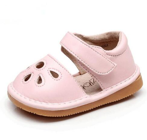 Fashion Hollow Out PU Leather Summer Baby Kids Shoes Children Rubber Sole Funny Baby Squeaky Shoes 2020 New Baby Sandals