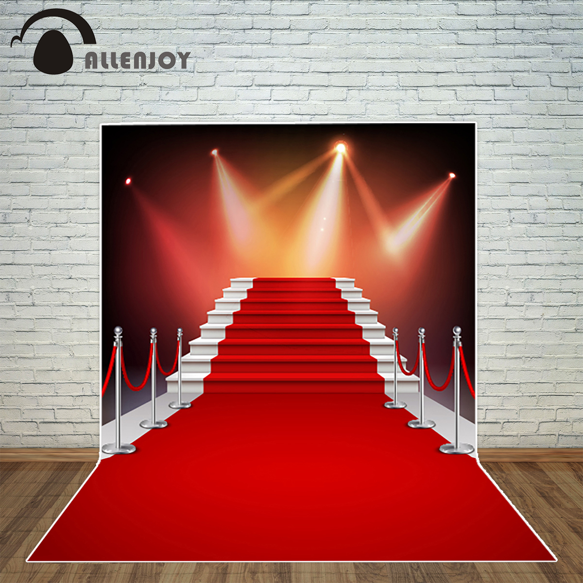 Allenjoy photography backdrop white stairs red carpet realistic background photo studio new design camera fotografica