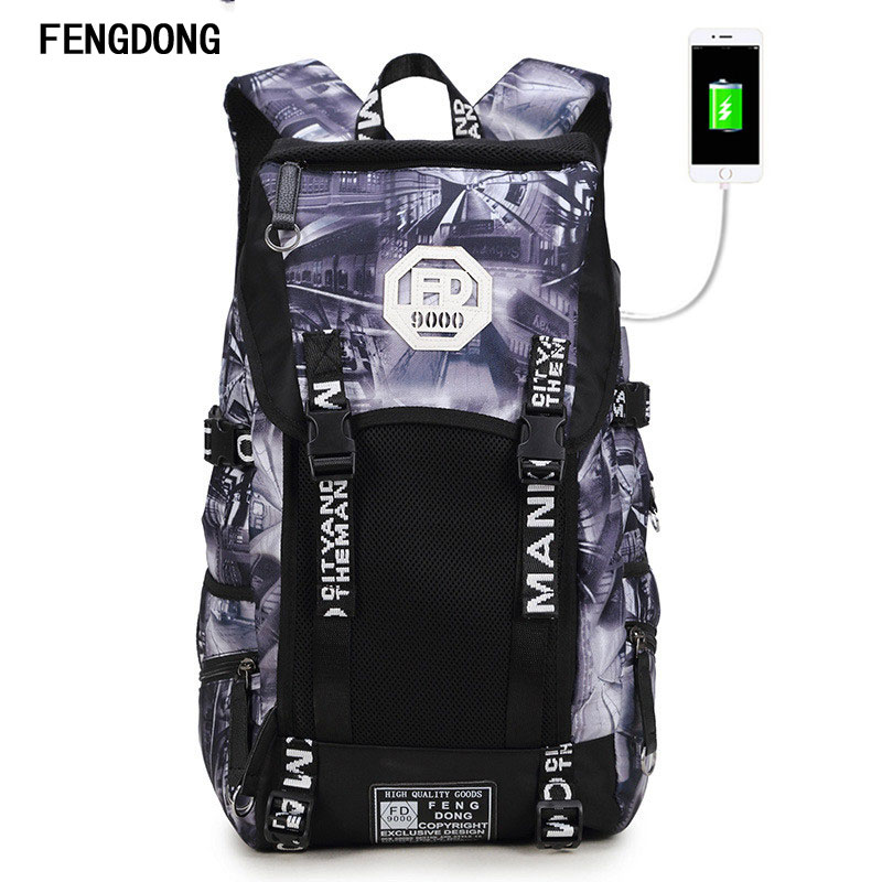Fengdong Most Durable Packable Lightweight Travel Backpack with USB Charging Port Daypack Work Travel Duffel Backpack