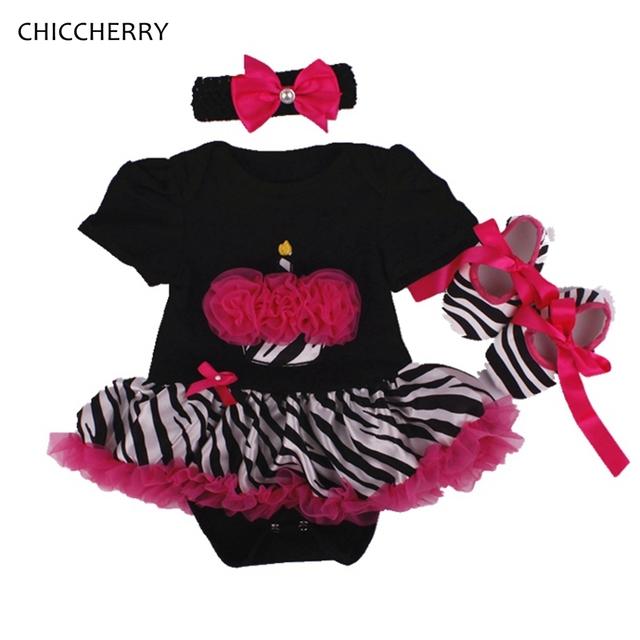 Queque Rendas Ruffle Romper Vestido Preto Zebra Vestido Da Menina Do Bebê Headband & Sapatos Definir Jupe Tutu Aniversário Roupas de Menina Recém-nascidos roupas