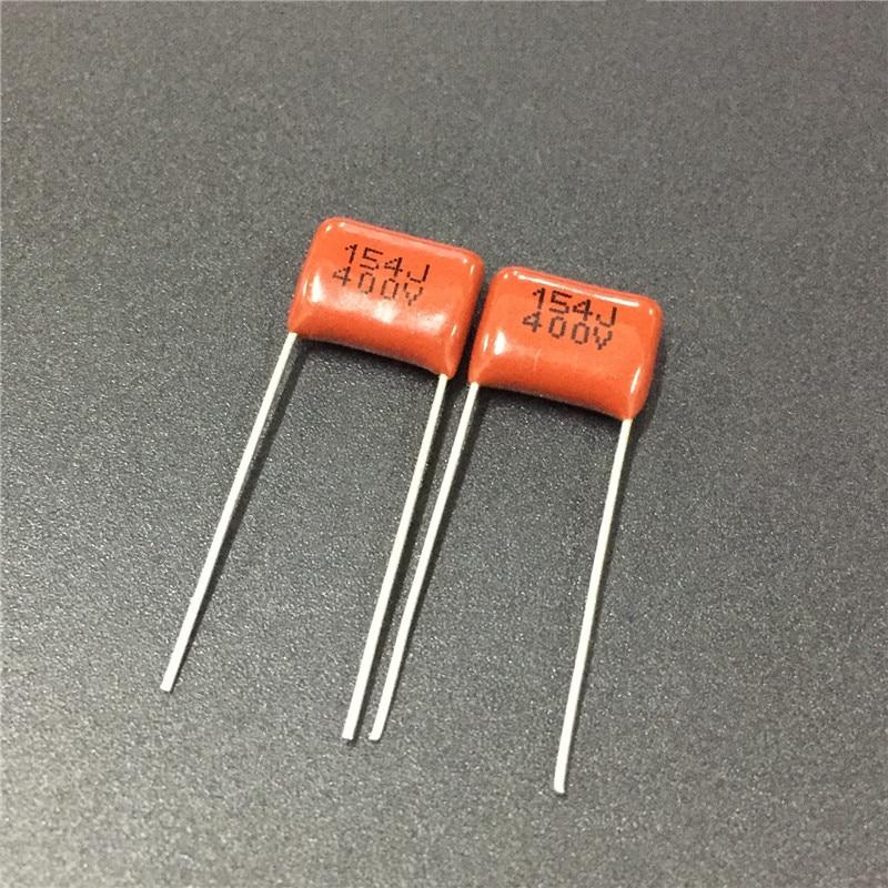 100pcs CBB Capacitor 154 400V 154J 0.15uF 150nF P10 CBB21 Metallized Polypropylene Film Capacitor