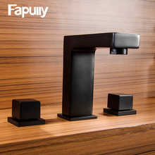 Fapully Hot Sale Basin Faucets Taps Dual Handle Bathroom Faucet Black Deck Mounted Mixer And Cold Water 606-44B