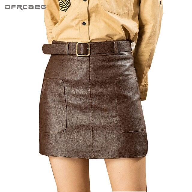 Wysokiej talii Vintage PU skóra kobieta spódnice jesień zima Streetwear brązowy czarny biały Mini spódnica z paskiem spódnica linii kobiet