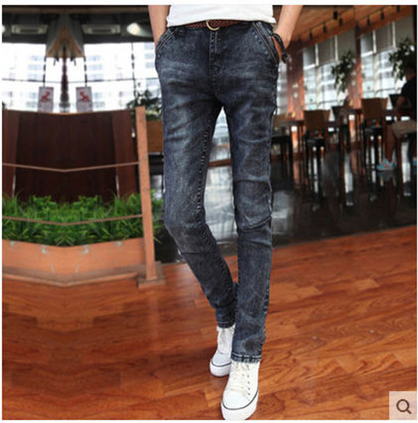 Fashion Men Winter Spring Dark Grey Skinny Jeans Trousers Casual Plus Size Slim Denim Pencil Pants  27-36 Free Shipping S1242 grey 2015 spring male personality splice skinny pants the trend straight trousers slim long trousers thin men skinny jeans